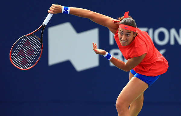 Caroline Garcia serves during her quarterfinal loss to Halep. Photo: Vaughn Ridley/Getty Images