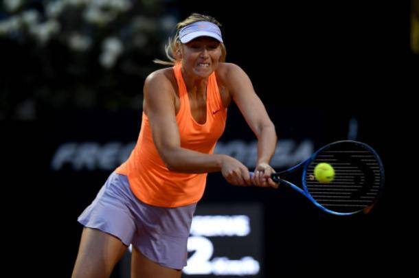 Maria Sharapova in action in her match against Mirjana Lucic-Baroni, from which she retired (Getty/Paul Copley)