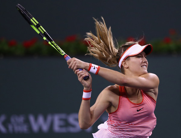 Eugenie Bouchard during his first round match in Indian Wells. Photo: Julian Finney/Getty Images