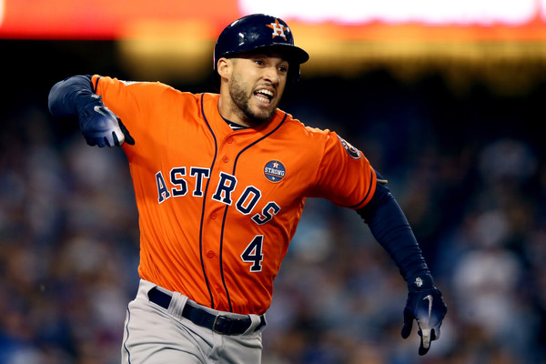 Springer reacts after his two-run home run/Photo: Ezra Shaw/Getty Images