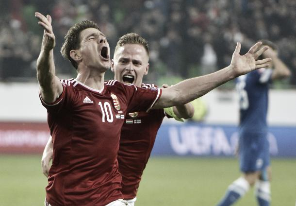 Zoltan Gera celebrates his goal against Finland.