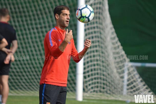 El técnico azulgrana Gerard López en un entreno previo al último encuentro | Foto: Noelia Déniz - VAVEL