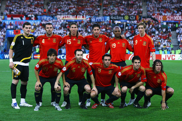 Alineación de España en la final de la EURO 2008   Foto: Shaun Botterill/Getty Images Europe
