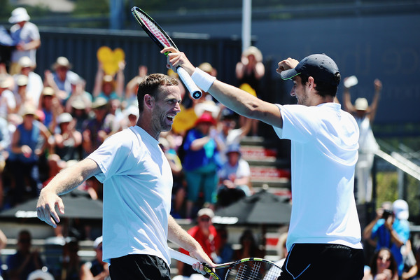 Michael Venus (left) and Mate Pavic celebrate a title in Auckland, New Zealand (Photo: Getty Images)