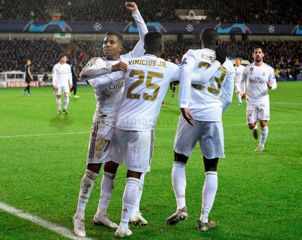 Vinicius y Rodrygo celebran uno de sus goles ante el Brujas / Foto: Real Madrid
