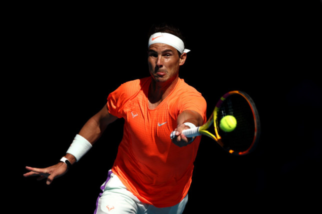 Nadal plays a forehand during his first-round match in Melbourne/Photo: Matt King/Getty Images