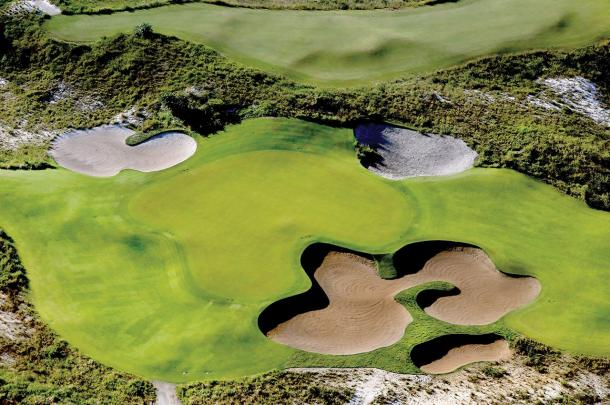 An aerial view of one of the greens of the Olympic Course in Rio/Photo: Getty Images