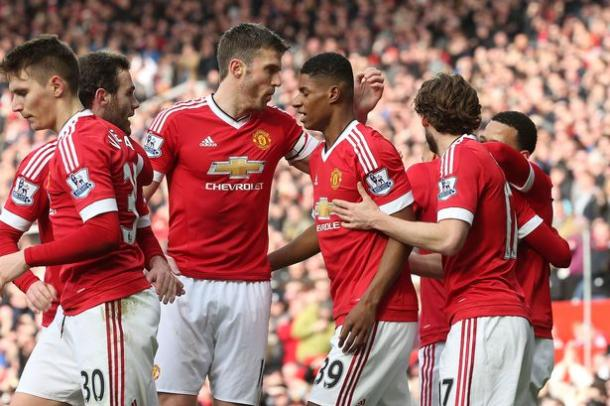 Rashford celebrating his goals against Arsenal with his teammates | Photo: Getty Images