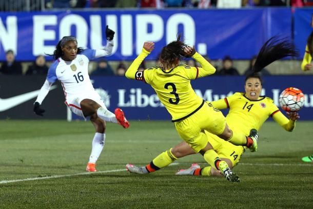 Crystal Dunn scoring the United States first goal on Wednesday against Colombia at Rentschler Field. Photo provided by Getty Images.