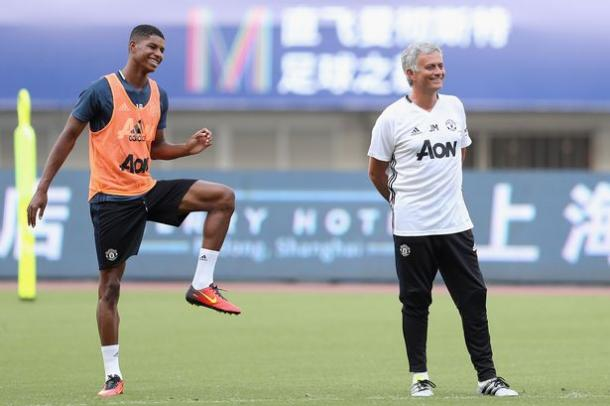 Above: Marcus Rashford in training in Manchester United's pre-season tour of China | Photo: Getty Images