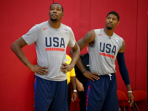 Team USA's one-two punch has been Kevin Durant (5) and Paul George (13). Photo: Nathaniel S. Butler/NBAE via Getty Images