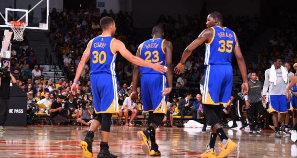 Kevin Durant was intrigued by the Warriors 'Death Lineup', which made him leave OKC for the Bay Area. Photo: Getty Images