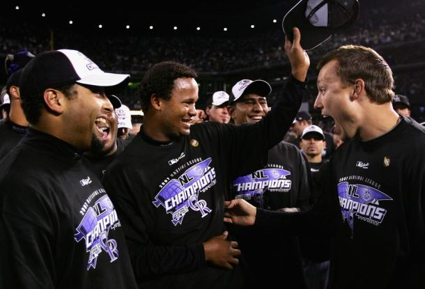 The Rockies celebrate winning the 2007 National League pennant over the Diamondbacks/Photo: Harry How/Getty Images