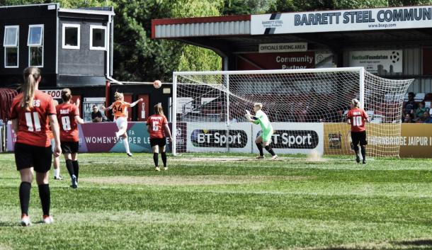 Goddard gives the Bees the lead in Dronfield (credit: Gino D'Andrea)