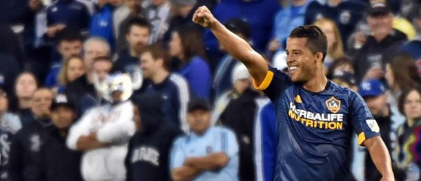 LA's Giovani dos Santos celebrating his goal against Sporting KC on Sunday at Children's Mercy Park. Photo provided by USA TODAY Sports.