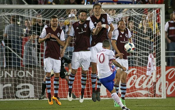 Sebastian Giovinco (in white and blue) taking a free kick against the Colorado Rapids. Photo credit: Doug Pensinger/Getty Images Sport