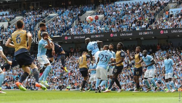 Grioud levelled the game with a towering header. | Image source: Arsenal