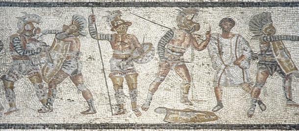 Mosaico que representa diferentes tipos de gladiadores romanos en pleno combate. Lo más destacado es el gladiador que levanta un dedo en señal de rendición. Fuente: Wikicomons