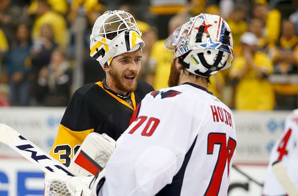 Matt Murray #30 of the Pittsburgh Penguins and Braden Holtby #70 of the Washington Capitals shake hands after the Pittsburgh Penguins defeated the Washington Capitals 4-3 in Game Six of the Eastern Conference Second Round during the 2016 NHL Stanley Cup Playoffs at Consol Energy Center on May 10, 2016 in Pittsburgh, Pennsylvania. (Photo by Justin K. Aller/Getty Images
