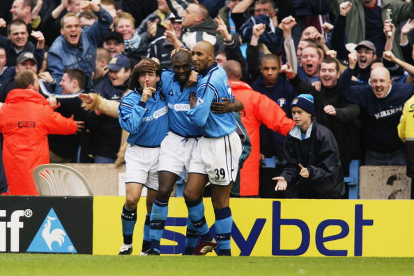 Goater celebrating his 100th Manchester City goal - GettyImages Sport | Gary Prior