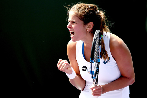 Julia Goerges celebrates during her victory on Monday. Photo: Matthew Stockman/Getty Images
