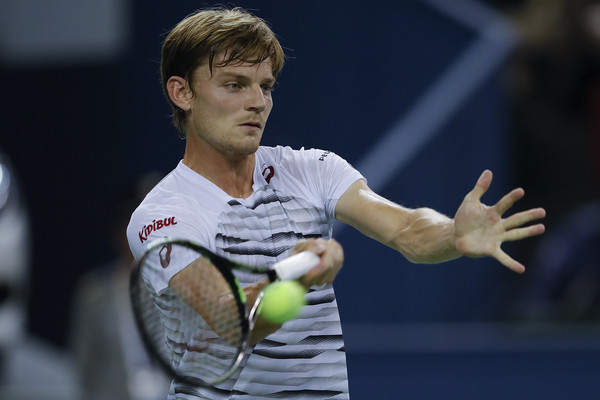 David Goffin hits a forehand during his quarterfinal in Shanghai. Photo: Lintao Zhang/Getty Images
