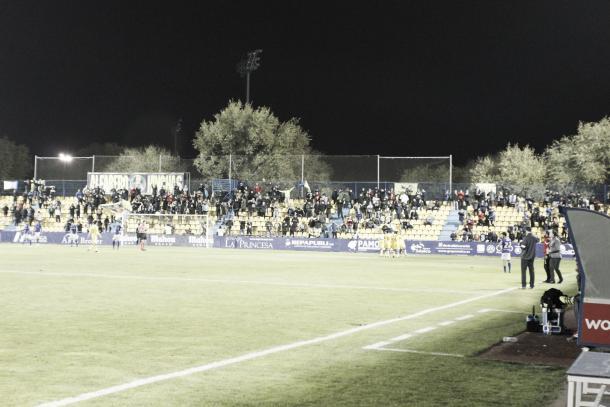 Los jugadores del Alcorcón celebran el 4-0 | Foto: Manu Gutiérrez (VAVEL)