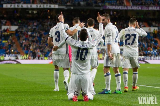 James celebra su gol frente al equipo leonés. | FOTO: Daniel Nieto