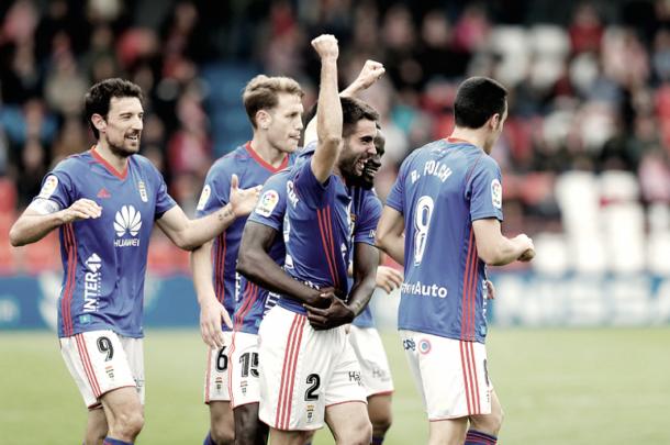 Celebración del gol de Diegui Johannesson que le dio los tres puntos al Real Oviedo el pasado abril. | Imagen: Real Oviedo