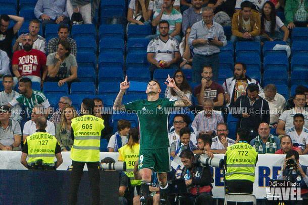 Tonny Sanabria celebrando el 0-1 en el Bernabéu | Foto: Daniel Nieto (VAVEL)