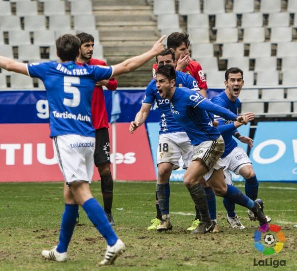 David Costas celebra un gol ante el R. C. D. Mallorca