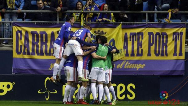 Celebración del tanto que supuso el 0-1 en el Carranza y que finalmente fue volteado por el Cádiz el 10 de febrero. | Imagen: La Liga