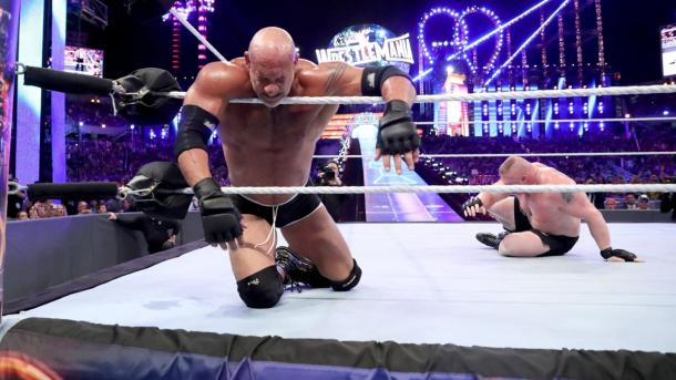 Goldberg and Brock Lesnar put on one hell of a show at WrestleMania (image: wwe.com)
