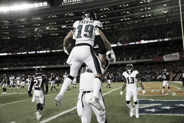 Golden Tate festeja el touchdown del triunfo. Philadelphia volvió a sorprender y sigue con vida (Imagen: Philadelphiaeagles.com)