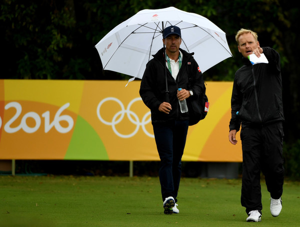 Soren  Kjeldsen and his caddie during a practice round at The Olympic Course in Rio/Photo: Ross Kinnaird/Getty Images