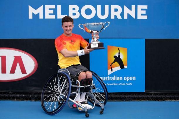 Britain's Gordon Reid celebrates winning the Gentlemen's Wheelchair Singles title at this year's Australian Open. Photo: Getty