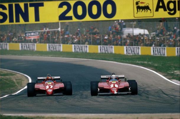 Villeneuve e Pironi affiancati nel corso del GP di San Marino