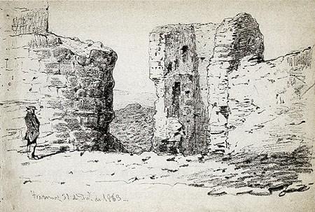Grabado de Valeriano que representa a Bécquer dibujando también. Fuente: Wikicomons