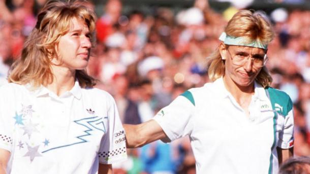 Graf (left) and Martina Navratilova, the woman Graf dethroned as queen of women's tennis. Photo: Sky Sports