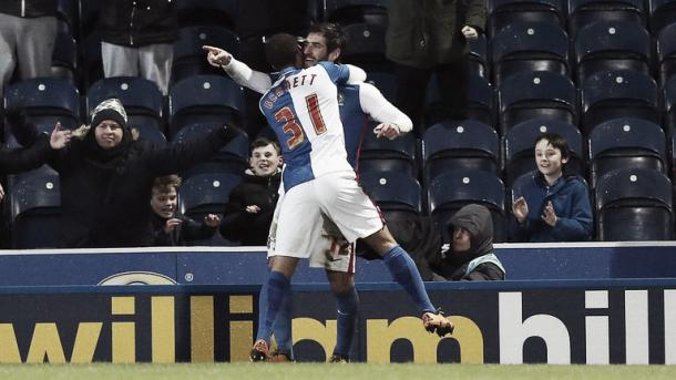 Graham celebrates scoring for Blackburn. | Image source: Sky Sports