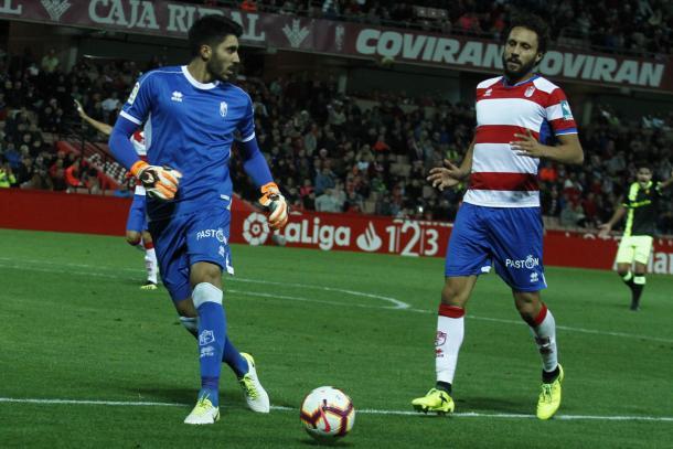 Rui Silva junto a Germán en el Granada-Mallorca de este año. Fuente: Antonio L. Juarez.