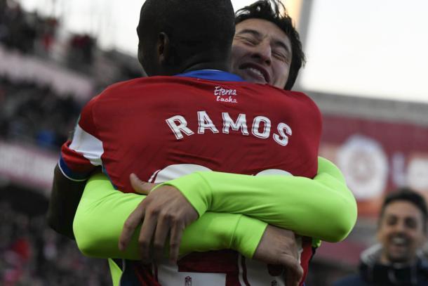 Ramos celebra su gol con Nico Aguirre | Foto: Jesús Jiméne Hita - Photograhers Sports