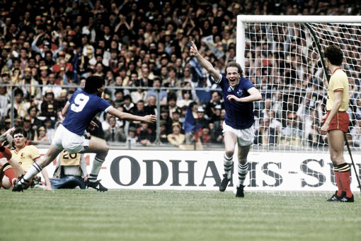 Andy Gray scores the winning goal in the 1984 FA Cup final. Photo: Liverpool Echo