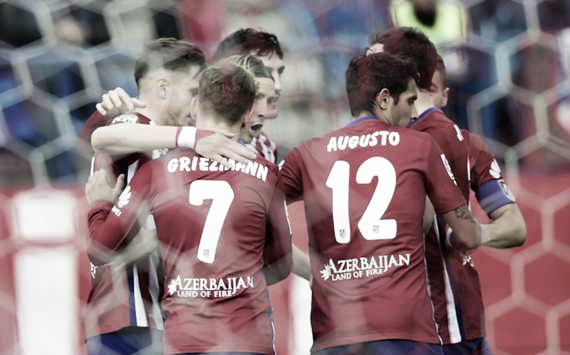 Above: Atletico Madrid players celebrating one of their two goals in their win over Celta De Vigo | Photo: Goal.com