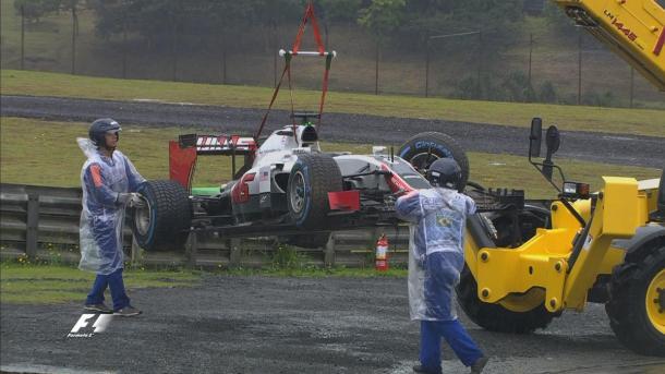 Grosjean bateu antes mesmo da largada (Foto: Divulgação/F1)