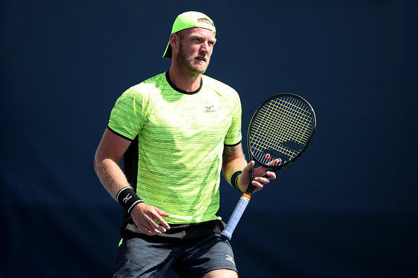 Sam Groth reacts to a point during his match at the US Open against Karen Khachanov (Photo: Matthew Stockman/Getty Images)