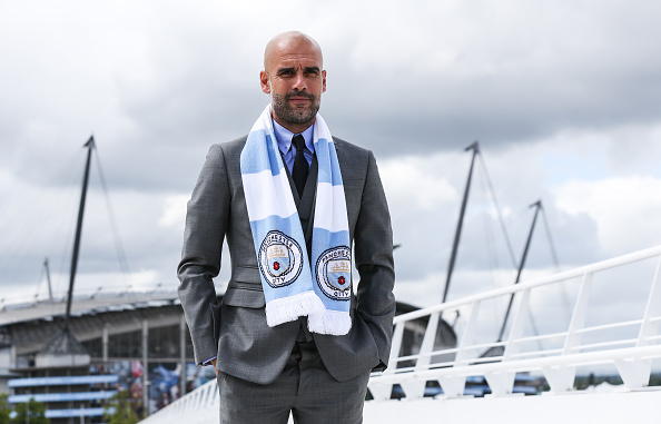 Guardiola held his first press conference as City boss on Friday | Photo: Barrington Coombs/Getty