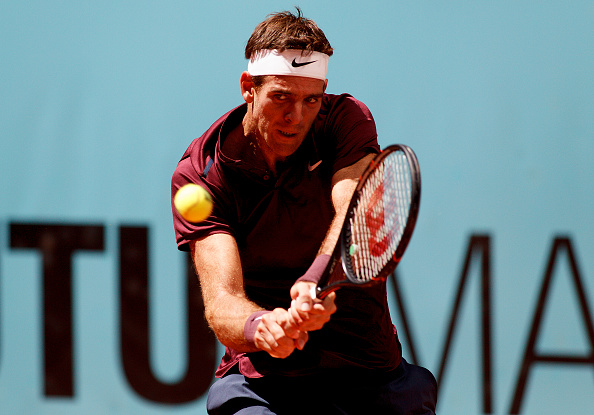Del Potro in action during his Mutua Madrid Open first round win over Dominic Thiem (Getty/Guillermo Martinez)