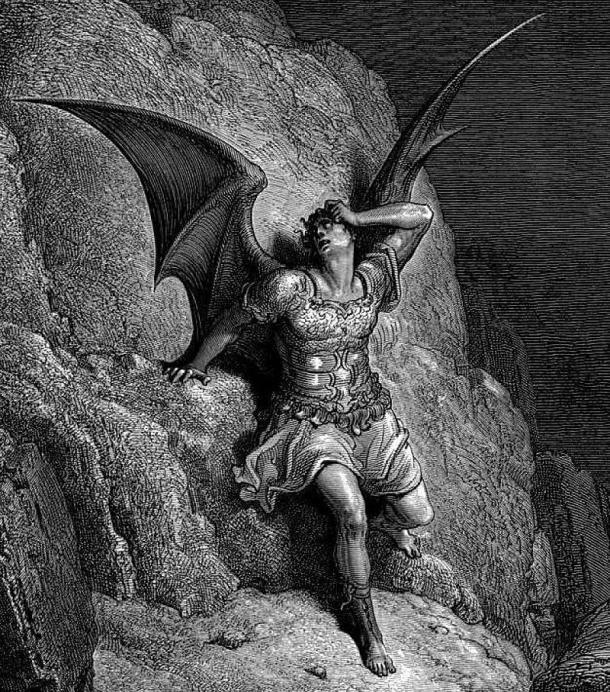"""Antes de ser conocido como una """"víctima de Dios"""", propia de los textos posteriores, el Diablo era el mal supremo, cautivador y embustero. Litografía de Doré para El Paraíso Perdido, de John Milton. Fuente: Public Domain"""