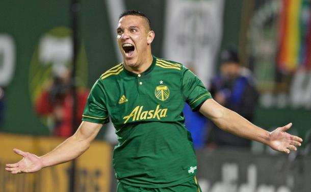 Timbers midfielder David Guzman (20) reacts after scoring the go-ahead goal. | Source: Craig Mitchelldyer/Portland Timbers